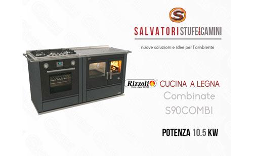 Cucina a Legna 10.5 Kw Rizzoli combinata S 90 Combi