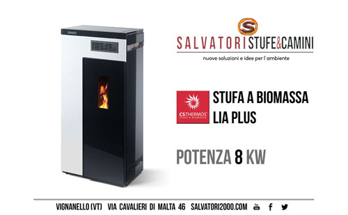 Stufa a biomassa pellet CS THERMOS modello Lia Plus