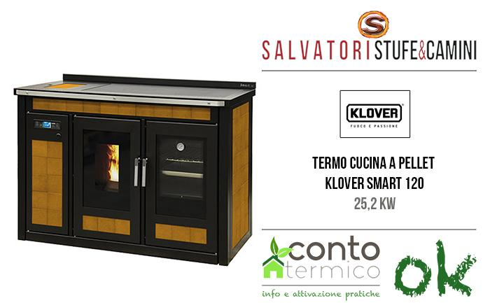 Termocucina a pellet 25,2 kw klover smart 120 maiolica