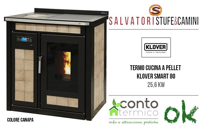 Termocucina a pellet Klover Smart 80 maiolica 25,6 kw