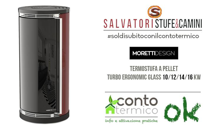 Termostufa pellet Moretti Design modello Turbo Ergonomic Glass 14 kw