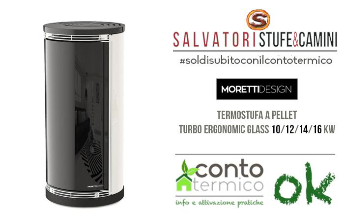 Termostufa a pellet Moretti Design Turbo Ergonomic Glass 16 kw
